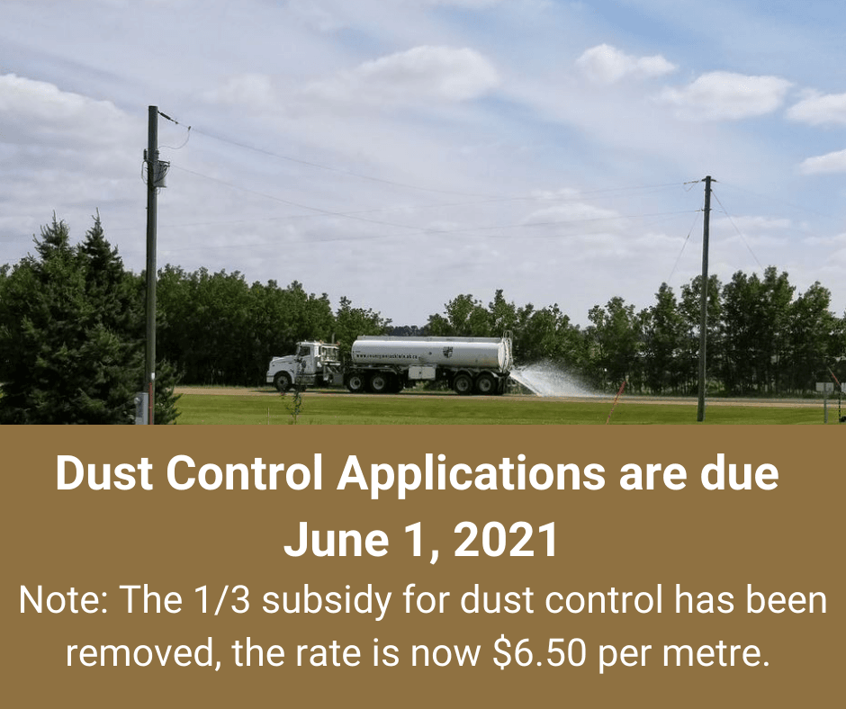 Dust Control Applications due June 1, 2021